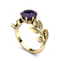 Alluring Amethyst And Diamond Ring - Yellow Gold (Ring Size: M)