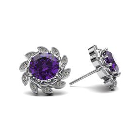 Alluring Amethyst And Diamond Earrings - Silver