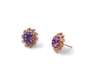 Alluring Amethyst And Diamond Earrings - Rose Gold