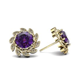 Alluring Amethyst And Diamond Earrings - Yellow Gold