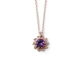 Alluring Amethyst And Diamond Pendant - Rose Gold