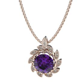 Alluring Amethyst And Diamond Pendant - Rose Gold