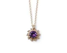 Alluring Amethyst And Diamond Pendant - Yellow Gold