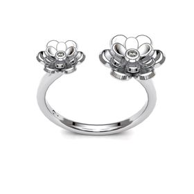 Dazzling Double Floral Ring - Silver (Ring Size: M)