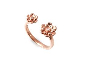 Why Dazzling Double Floral Ring - Rose Gold Plated