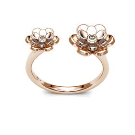 Dazzling Double Floral Ring - Rose Gold (Ring Size: M)