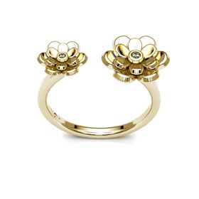 Dazzling Double Floral Ring - Yellow Gold (Ring Size: M)