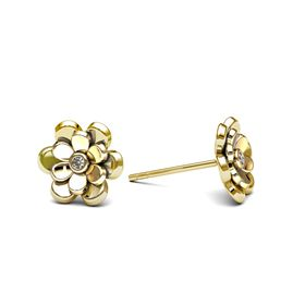 Dazzling Double Floral Earrings - Yellow Gold