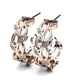 Lavish Leaf Diamond Earrings - Rose Gold