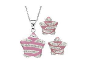 Pink & White Enamel Star Shaped Earrings & Pendant Set