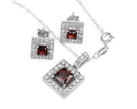 Red & Clear Earring & Pendant Set with Necklace