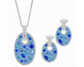 Blue & White Crystal & Enamel Earrings & Pendant Set