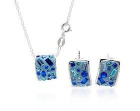 Blue Crystal & Blue Enamel Jewellery Set