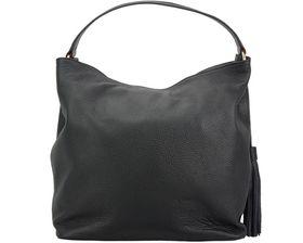 Genuine Leather Tassled Hobo Handbag - Black