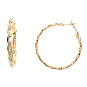 Lily&Rose Yellow Gold Plated Platted Hoop Earrings With Glitter Strip