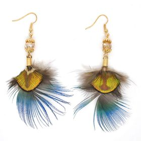 Lily&Rose Yellow Gold Plated Peacock Feather Earrings