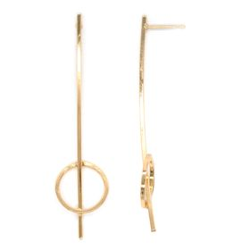 Lily&Rose Yellow Gold Plated Bar & Circle Earrings