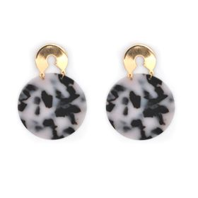 Lily&Rose Yellow Gold Plated Stud Earring With Leopard Spots Circle