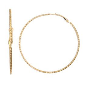Lily&Rose Yellow Gold Plated Diamond Cut Hoop Earrings