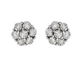 0.15ctw Natural Diamond Flower Stud Earrings