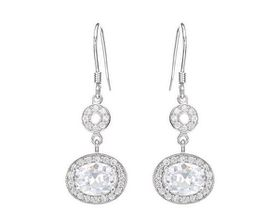 5.85ctw Clear CZ Drop and Dangle Earrings