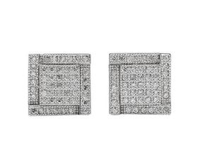 Clear CZ Cluster Style Square Studs