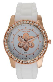 Digitime Ladies Floral Analogue Watch - White