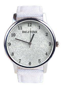 Digitime Ladies Denim Analogue Watch - White