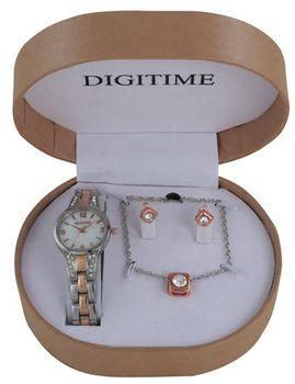 Digitime Ladies Analogue Watch And Jewellery Box Set - Tutone
