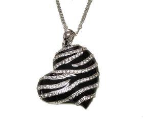 CDE Forbidden Heart Necklace with Swarovski Crystals - Black
