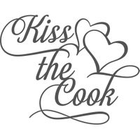 Vinyl Lady Decals Kiss the Cook Kitchen Quote Wall Art Sticker Dark Grey
