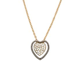 Lily&Rose Yellow Gold Plated Chain & Diamante Heart In A Gun Metal Grey Plate
