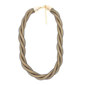 Lily&Rose Yellow Gold & Black Coloured Chain Mail Twisted Necklace