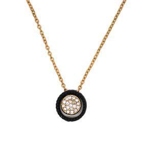 Lily&Rose Yellow Gold Plated Chain & Diamante Circle In A Black Plated