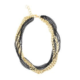 Lily&Rose Multi Curb Link Chain Necklace Plated In Yellow Gold & Black