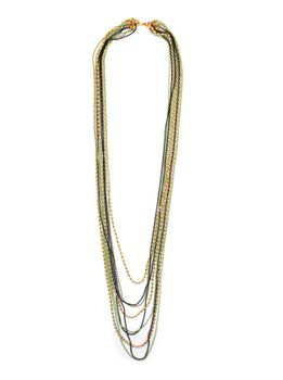 Lily&Rose Multi Strand Bead Chain Necklace, In Gold, Black & Green Coloured Plating