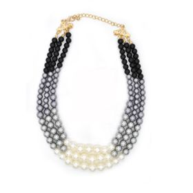 Lily&Rose 3 Strand Black, Silver & Cream Coloured Glass Bead Necklace