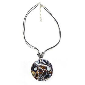 Lily&Rose Leopard Print Shell Disk Necklace On White & Black Coloured Cord