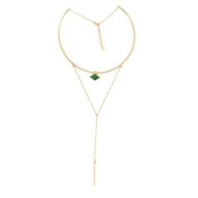 "Lily&Rose Yellow Gold Plated Choker With Hanging Chain In A ""V"" Shape"