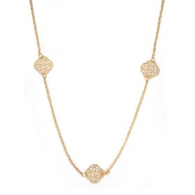 Lily&Rose Yellow Gold Plated Oval Link Chain With 5X 4X Leaf Clover Shaped Disks With Cut Out Design