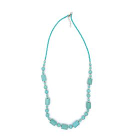 Lily&Rose Turquoise Round, Tube Shaped Crackle Bead Necklace