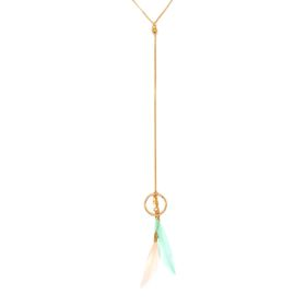 Lily&Rose Yellow Gold Fine Curb Link Y Chain With Circle, Pink & Green Leaf Detail