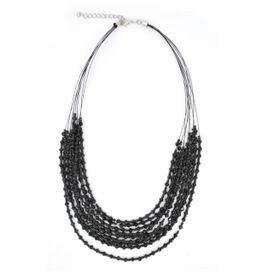 Lily&Rose Multi Strand Black Faceted Bead & Seed Bead Necklace