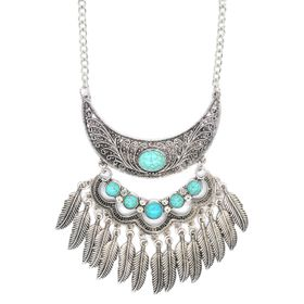 Lily&Rose Silver Plated Bohemian Style Neckpiece With Oxidized Detail And Set With Oval And Round Turquoise Stones