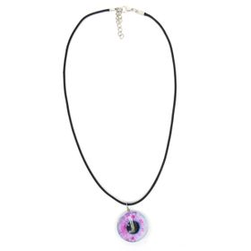 Lily&Rose Black Thong With Glass Eye Pendant In Tones Of Turquoise & Green In A Silver Plated Rim