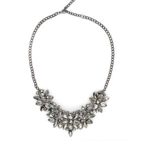 Lily&Rose Gun Metal Grey Oval Link Chain With Round & Teardrop Shapes Set With Silver Metallic