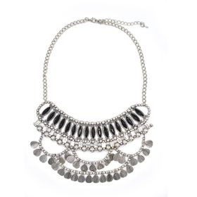 Lily&Rose Silver Plated Bohemian Style Neckpiece With Rectangular Shapes, Bals & Round Tassles