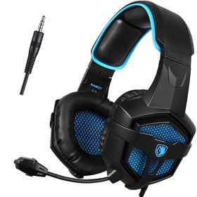 SADES SA 807 Gaming Headphones for PlayStation 4, Xbox One, PC & Mac with Microphone - Black & Blue