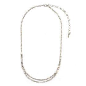 Bella Bella Delicate Silver Plated Crystal Encrusted Neckpiece (Kendron - TBN039)