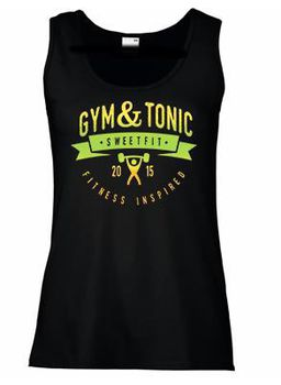 SweetFit-  Gym & Tonic Ladies Black Vest